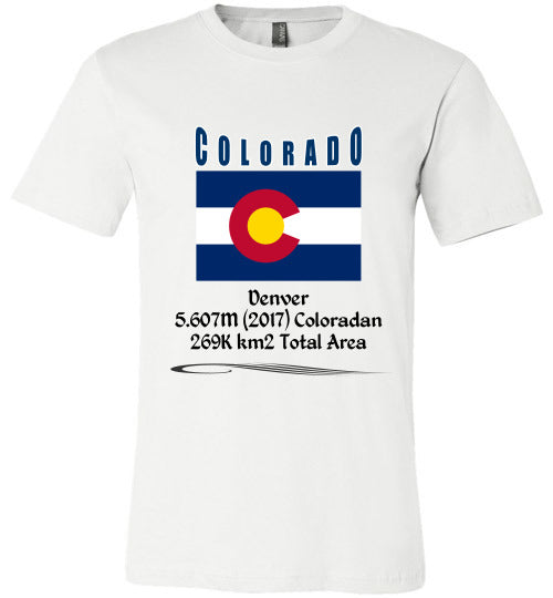 Colorado State Shirt - Flag, Capital, Population, Resident's Name, Total Area - Unisex - White