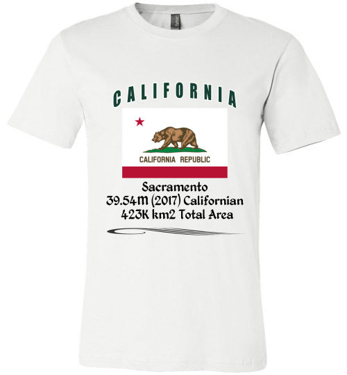 California State Shirt - Flag, Capital, Population, Resident's Name, Total Area - Unisex - White