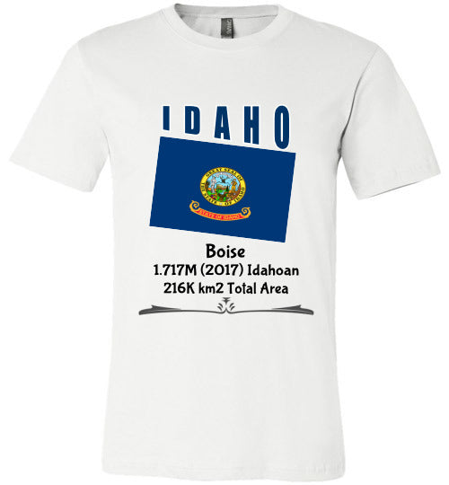 Idaho State Shirt - Flag, Capital, Population, Resident's Name, Total Area - Unisex - White