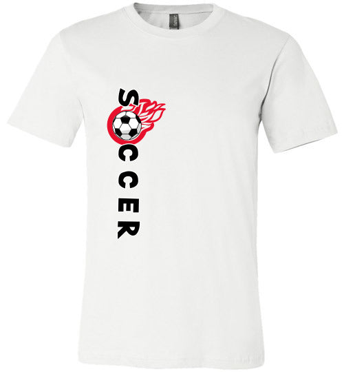 Sports Soccer Niche T-Shirt - Soccer Flame - White
