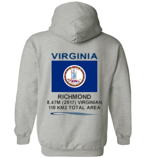 Virginia State Men Hoodie - Flag, Capital, Population, Resident's Name, Total Area - Sports Grey
