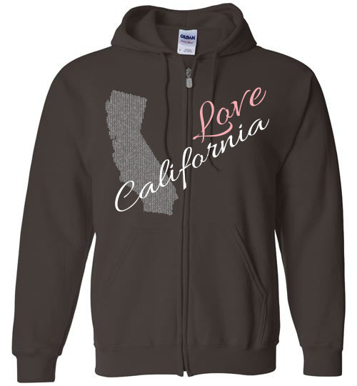 Cool Hoodie For Men - Love California - Dark Chocolate