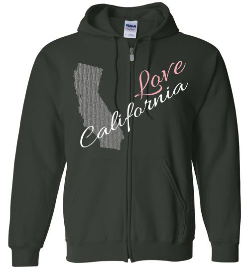 Cool Hoodie For Men - Love California - Forest Green