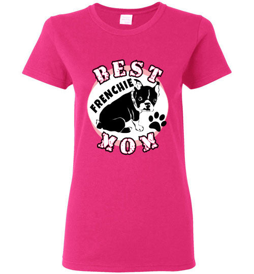 Gildan Ladies T-Shirt | Best Frenchie Mom - Heliconia