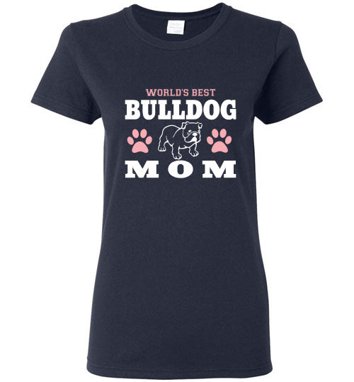 Gildan Ladies T-Shirt | World's Best Bulldog Mom - Navy