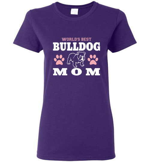 Gildan Ladies T-Shirt | World's Best Bulldog Mom - Purple