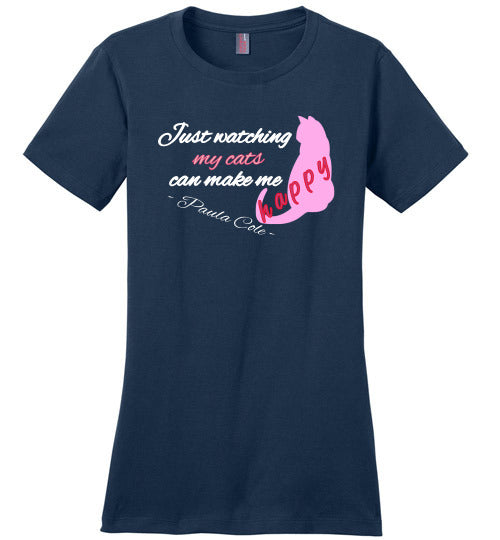 District Made Crewneck Tee - Paula Cole -Just watching my cats can make me happy - Navy