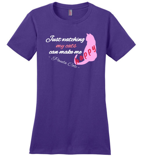 District Made Crewneck Tee - Paula Cole -Just watching my cats can make me happy - Purple