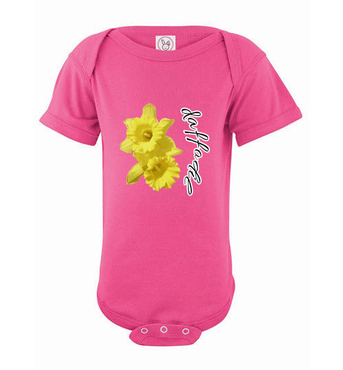 Infant Short Sleeve Bodysuit - Daffodil - Hot Pink