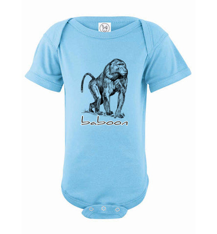 Infant/Baby Short Sleeve Bodysuit - Baboon - Light Blue