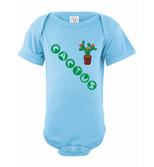 Infant/Baby Short Sleeve Bodysuit - Cactus - Light Blue