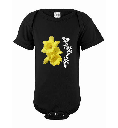 Infant Short Sleeve Bodysuit - Daffodil - Black