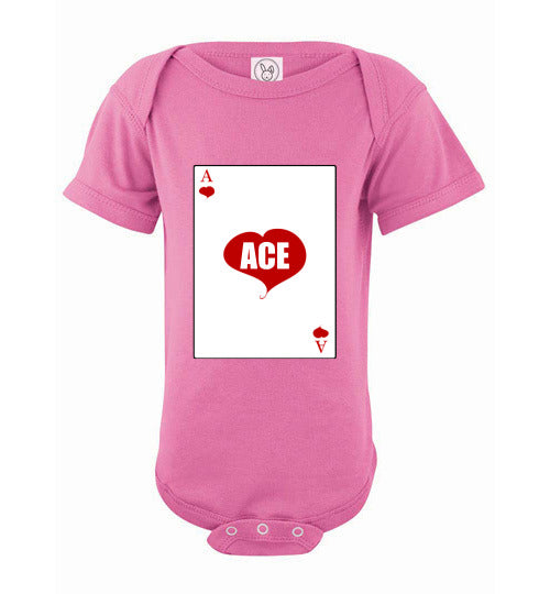Infant/Baby Short Sleeve Bodysuit - Ace - Raspberry