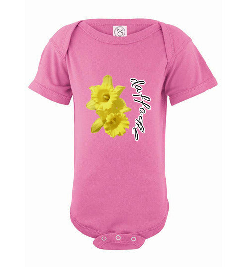 Infant Short Sleeve Bodysuit - Daffodil - Raspberry