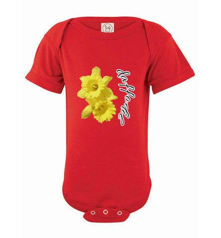 Infant Short Sleeve Bodysuit - Daffodil - Red