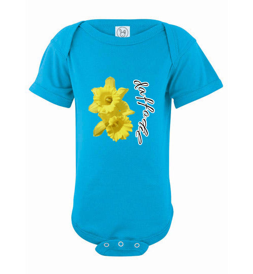 Infant Short Sleeve Bodysuit - Daffodil - Turquoise