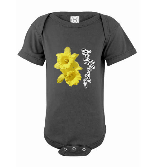 Infant Short Sleeve Bodysuit - Daffodil - Charcoal