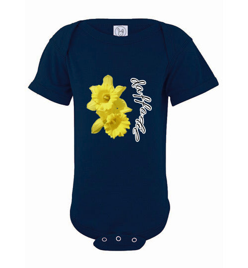 Infant Short Sleeve Bodysuit - Daffodil - Navy
