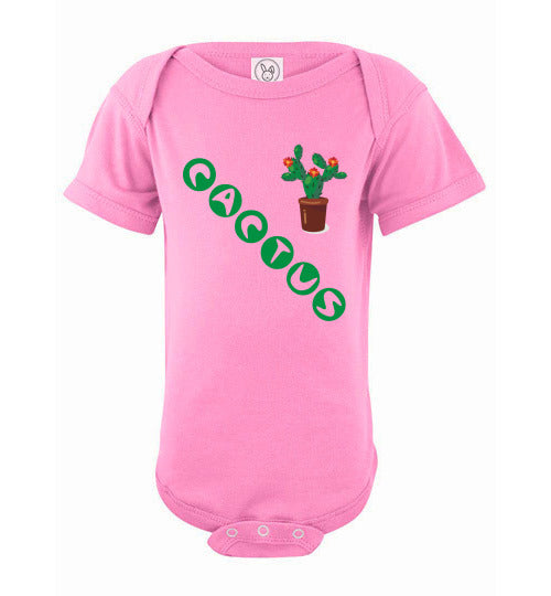 Infant/Baby Short Sleeve Bodysuit - Cactus - Pink