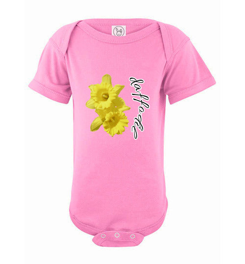 Infant Short Sleeve Bodysuit - Daffodil - Pink