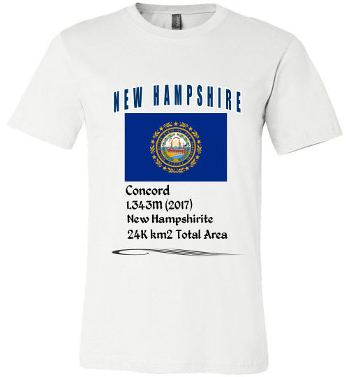 New Hampshire State Shirt - Flag, Capital, Population, Resident's Name, Total Area - Unisex - White