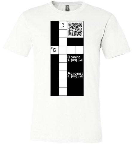 Unisex Canvas T-Shirt | CPZ001 Crossword Puzzle - Jail - White