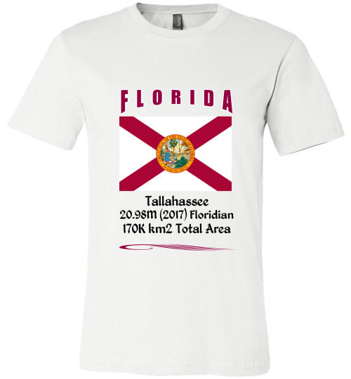 Florida State Shirt - Flag, Capital, Population, Resident's Name, Total Area - Unisex - White