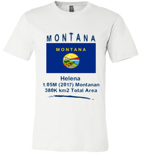 Montana State Shirt - Flag, Capital, Population, Resident's Name, Total Area - Unisex - White