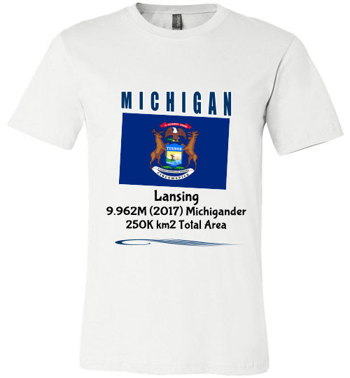 Michigan State Shirt - Flag, Capital, Population, Resident's Name, Total Area - Unisex - White