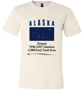 Alaska State Shirt - Flag, Capital, Population, Resident's Name, Total Area - Unisex - Soft Cream