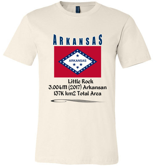 Arkansas State Shirt - Flag, Capital, Population, Resident's Name, Total Area - Unisex - Soft cream