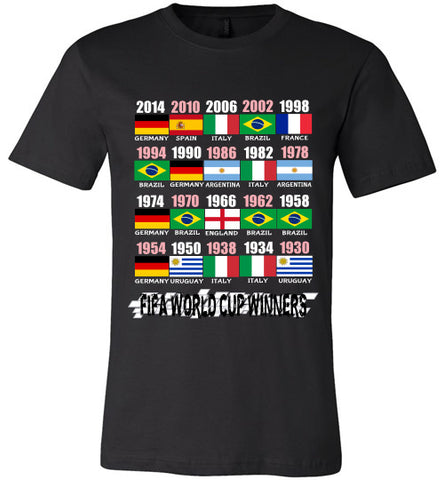 Sports Soccer Niche T-Shirt - FIFA World Cup Winners With Flag (1930 - 2014) - Black