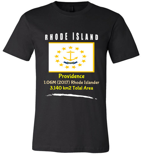 Rhode Island State Shirt - Flag, Capital, Population, Resident's Name, Total Area - Unisex - Black