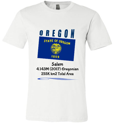 Oregon State Shirt - Flag, Capital, Population, Resident's Name, Total Area - Unisex - White