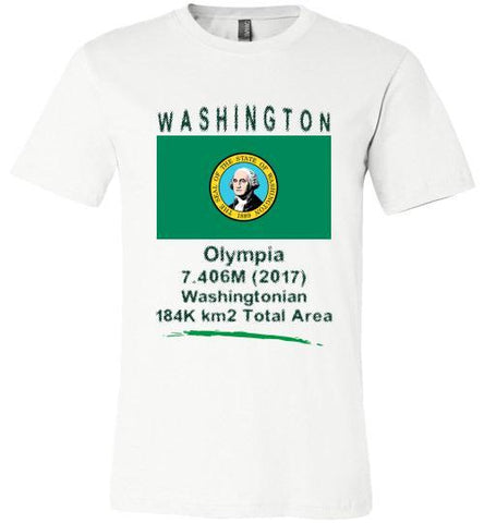 Washington State Shirt - Flag, Capital, Population, Resident's Name, Total Area - Unisex - White