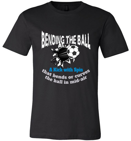 Sports Soccer Niche T-Shirt - Bending The Ball - Black