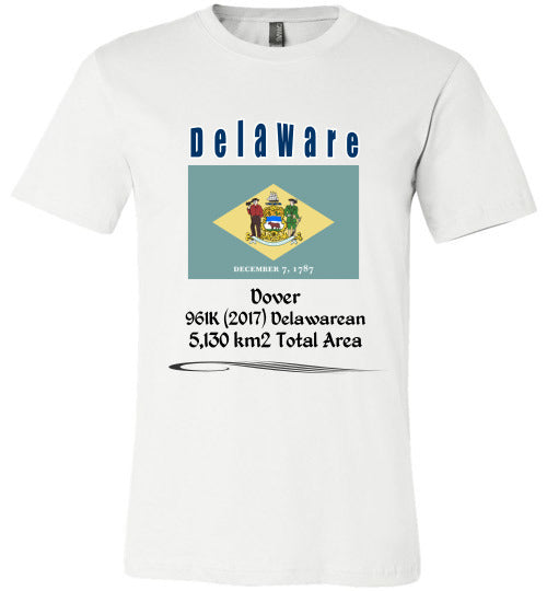 Delaware State Shirt - Flag, Capital, Population, Resident's Name, Total Area - Unisex - White