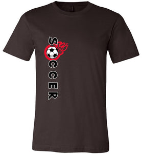 Sports Soccer Niche T-Shirt - Soccer Flame - Brown