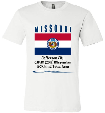 Missouri State Shirt - Flag, Capital, Population, Resident's Name, Total Area - Unisex - White