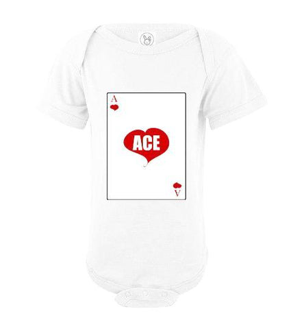Infant/Baby Short Sleeve Bodysuit - Ace - White