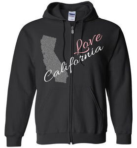 Cool Hoodie For Men - Love California - Black