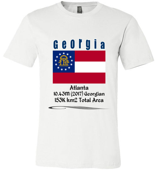Georgia State Shirt - Flag, Capital, Population, Resident's Name, Total Area - Unisex - White