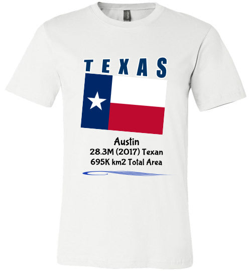 Texas State Shirt - Flag, Capital, Population, Resident's Name, Total Area - Unisex - White
