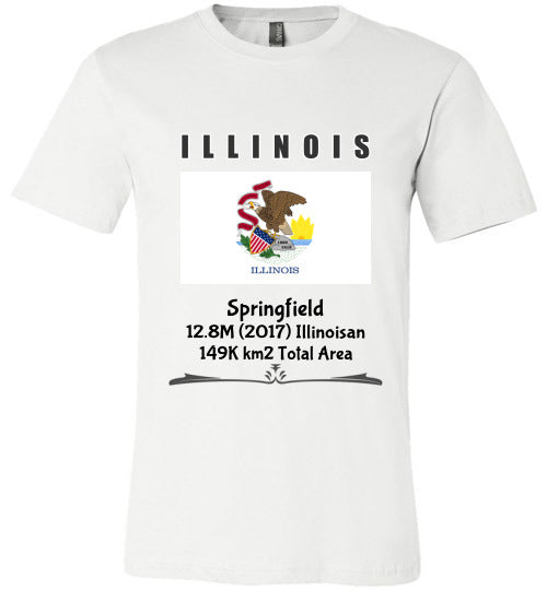 Illinois State Shirt - Flag, Capital, Population, Resident's Name, Total Area - Unisex - White