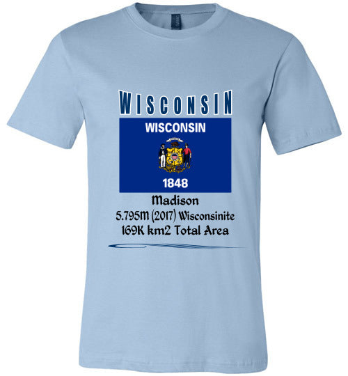 Wisconsin State Shirt - Flag, Capital, Population, Resident's Name, Total Area - Unisex - Light Blue