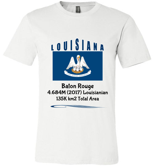 Louisiana State Shirt - Flag, Capital, Population, Resident's Name, Total Area - Unisex - White