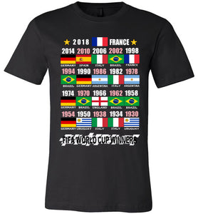 Canvas Unisex T-Shirt | FIFA World Cup Winners (Flag) 1930 - 2018 - Black