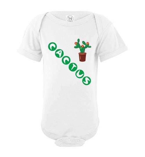 Infant/Baby Short Sleeve Bodysuit - Cactus - White