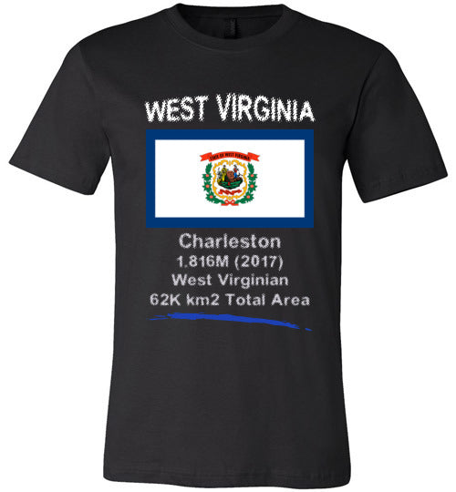 West Virginia State Shirt - Flag, Capital, Population, Resident's Name, Total Area - Unisex - Black