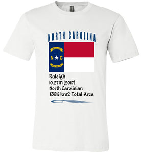 North Carolina State Shirt - Flag, Capital, Population, Resident's Name, Total Area - Unisex - White